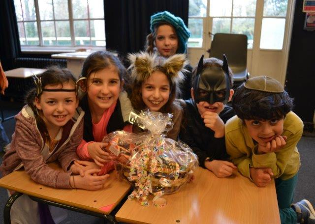 Cheder pupils all dressed up for Purim